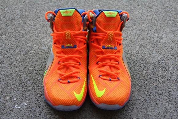 online store d58cc 501b9 ... Nike LeBron 12 Orange  Volt - Detailed Look 7 ...