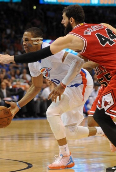 eaa7553e3b87 NBA  Chicago Bulls at Oklahoma City Thunder. Mark D. Smith for USA Today  Sports. Russell Westbrook Wears a New Air Jordan XX9 PE-3