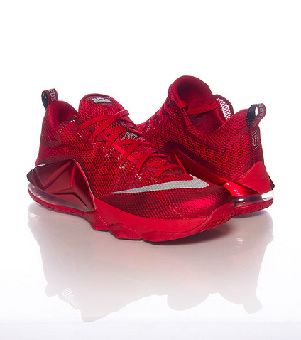 Nike LeBron 12 Low 'All-Red' side by side
