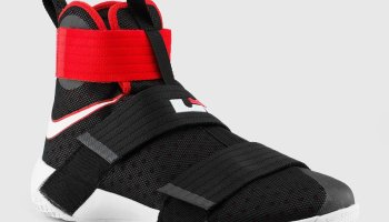 new style b80fb 13929 The Nike LeBron Soldier 10 in Black/ University Red is ...