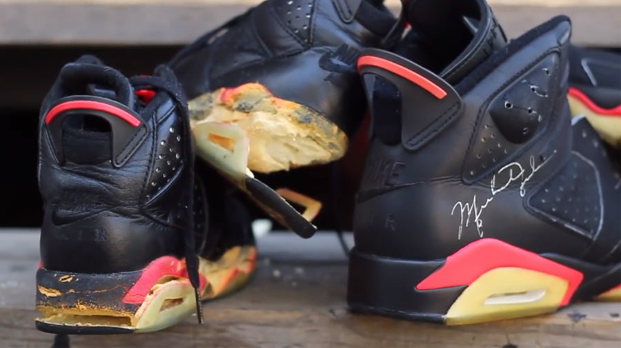 best service aeba2 5f144 A Pair of 1991 Game Worn and Dual Signed Black Infrared Air Jordan ...