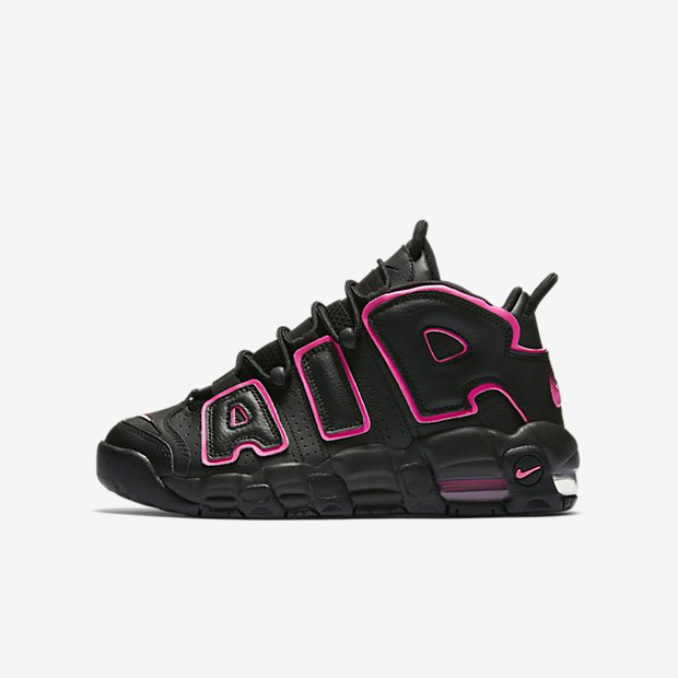 55d58e79aa ... grade school sized Nike Air More Uptempo in Pink Blast now for $130 at  the retailers below: Nikestore   Foot Locker   Eastbay   Footaction   Shoe  Palace