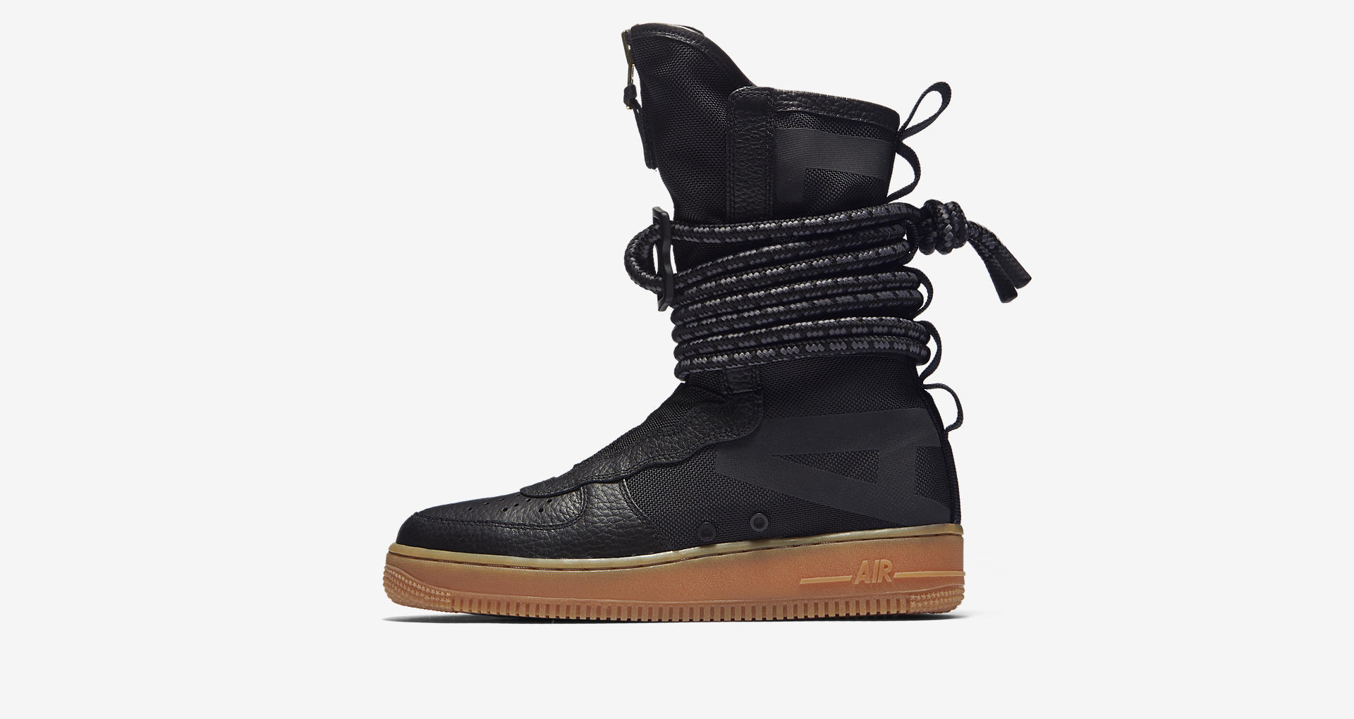 01428ef2a25 nike SF AF1 high black gum medium zipper womens 1 - WearTesters
