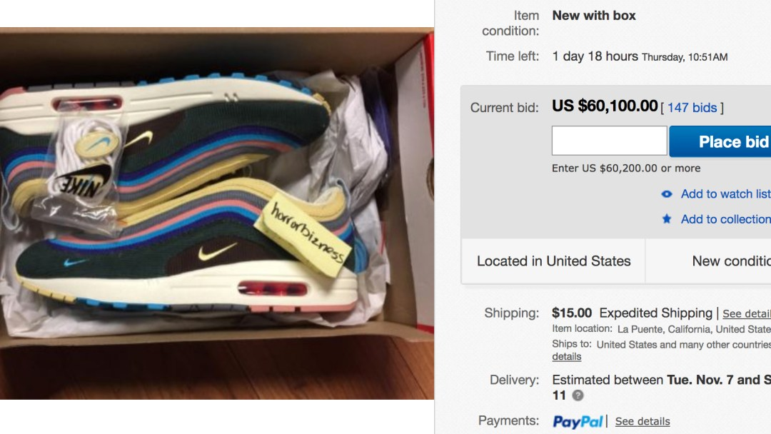 29139c82 Sean Wotherspoon's Nike Air Max 1/97 is Selling on eBay for $60,000 ...