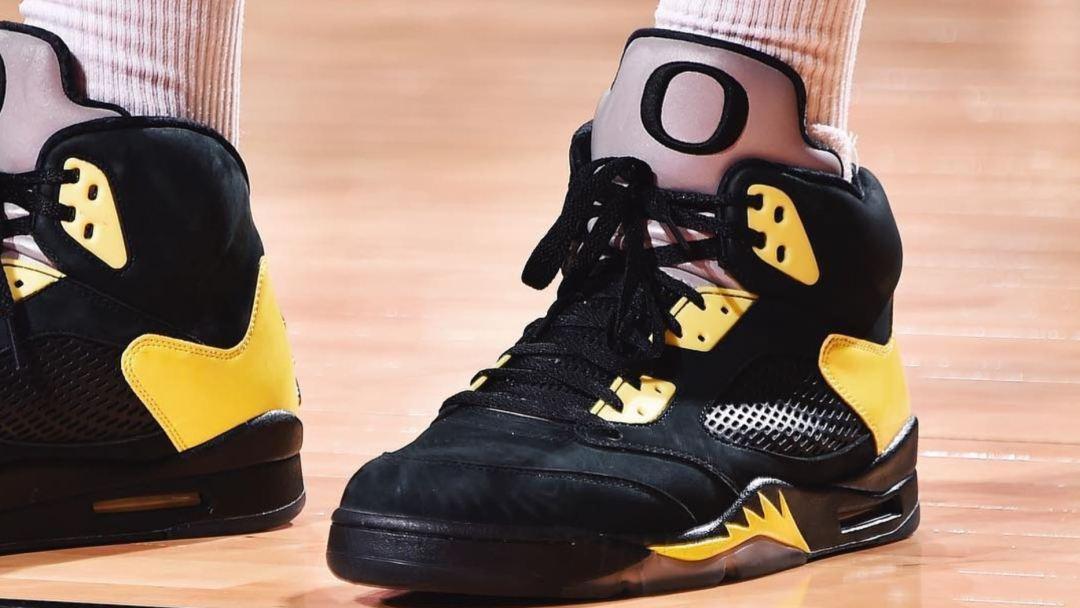 PJ Tucker Rocks Super Rare Air Jordan 5  Oregon  On-Court - WearTesters 4a3ea34a3f