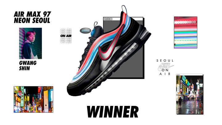 nike on air winners air max 97 neon gwang shin