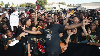 "James Harden Returns to Audubon Middle School in Los Angeles for ""Imma Be a Star"" Block Party"