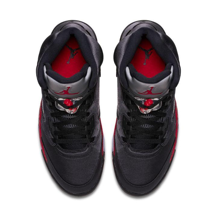 air jordan 5 satin black red top
