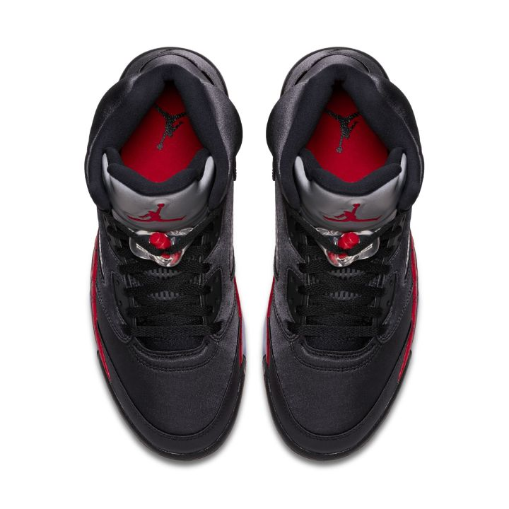 Official Look at the Satin Air Jordan 5  Black Red  - WearTesters 65db47316