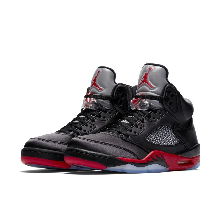 efcfee906d82 Official Look at the Satin Air Jordan 5  Black Red  - WearTesters
