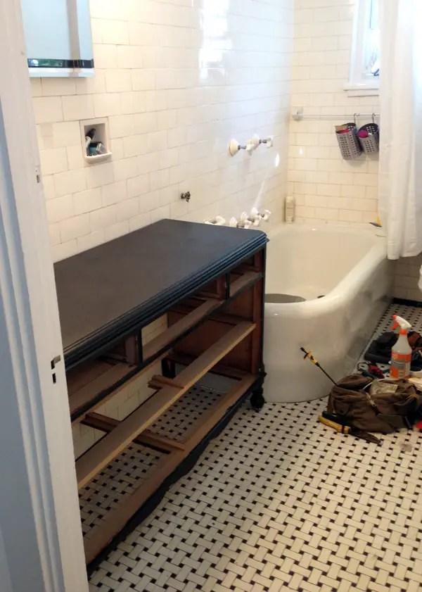 Vintage Dressed Turned Bathroom Vanity DIY