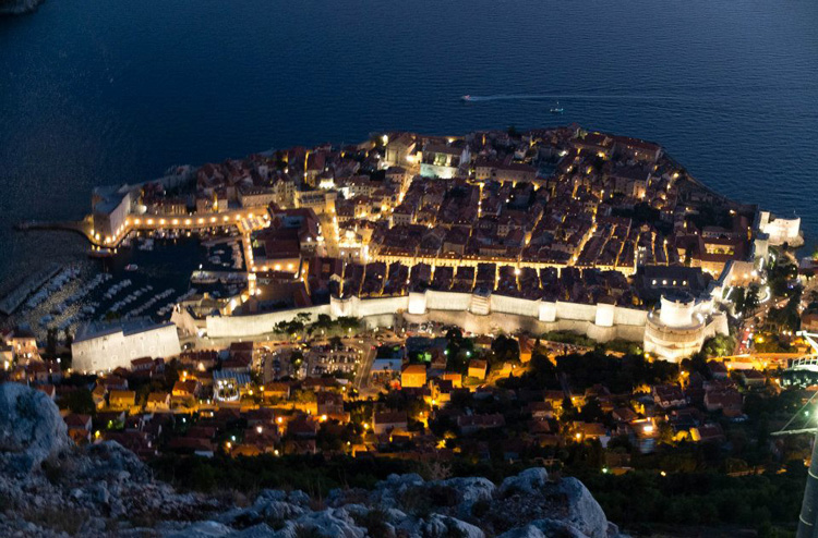 Aerial view of Dubrovnik at nighttime