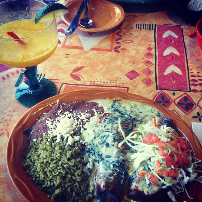 ^^Spinach enchilada with a mango margarita.