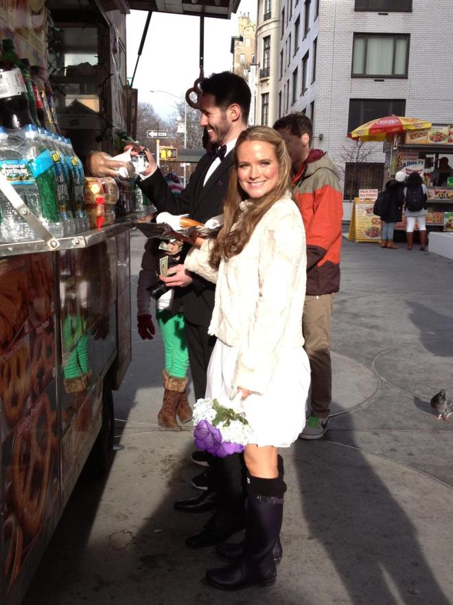 ^^ Grabbing pretzels from the street vendor near Central Park after our Dec. 31, 2012 nuptials at City Hall.