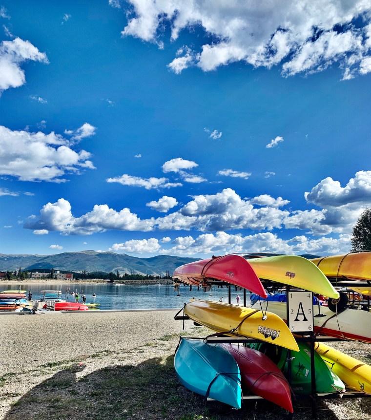 colorful kayaks at frisco colorado marina