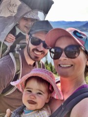 Our family of four hiking near Frisco, Colorado
