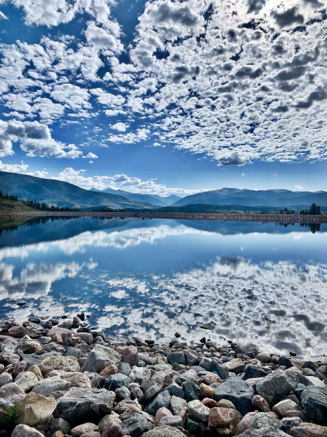 clouds reflected in Old Dillon Reservoir