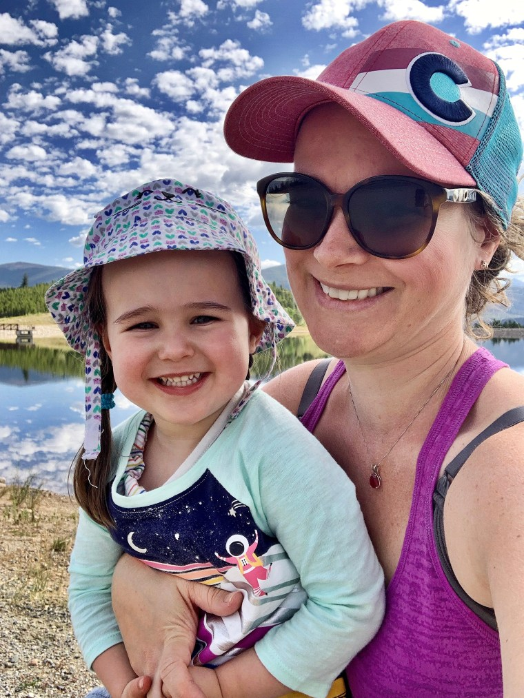 mom and daughter smiling at Old Dillon Reservoir Trail