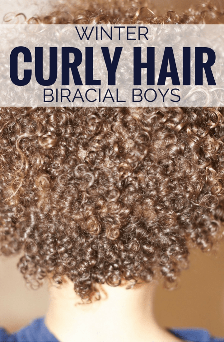 winter curly hair routine biracial boys