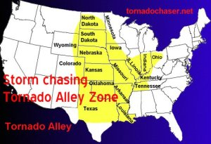 A map showing where the most tornadoes will be.
