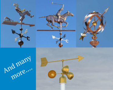Several different types of weather vane
