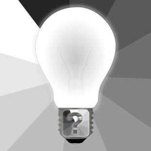 Light bulb with a question mark