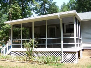 A screened in porch