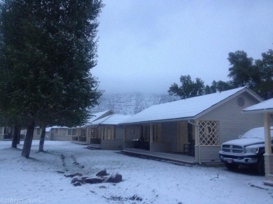 Cabins at Monmouth Falls, first snowfall