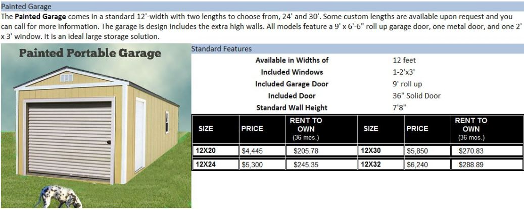 Painted shed image prices