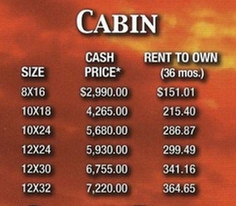 Cabin Prices