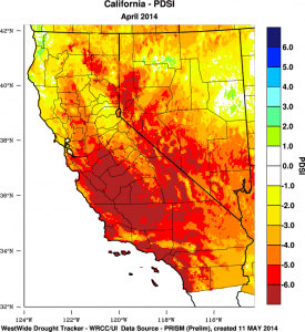 Extreme soil moisture and evaporational deficits are widespread in California. (PRISM via WWDT)