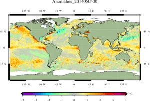 Global SST anomalies. Note the red region west of Peru. (DMI)