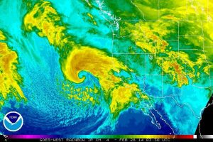 A beautifully well-defined winter storm brought significant precipitation to Southern California late in the winter. (NOAA)
