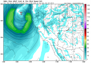 The NAM model depicts a region of fairly strong winds aloft associated with a deepening low pressure area off the NorCal Coast. (NCEP via tropicaltidbits.com)