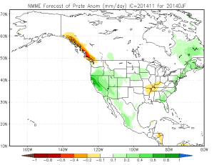 November 2014 NMME precipitation projection for DJF 2014-2015. (NOAA/CPC)