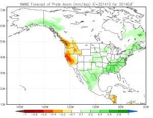 October 2014 NMME precipitation projection for DJF 2014-2015. (NOAA/CPC)
