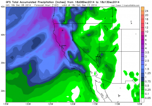 The GFS is suggesting widespread very heavy precipitation totals across all of NorCal, including urban corridors. (NCEP via Levi Cowan)