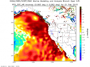 Extremely warm ocean temperature continue across the northeastern Pacific Ocean. NO