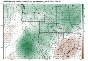 The GFS is suggesting the potential for a large influx of monsoonal and tropical remnant moisture over the coming 7-10 days. (NCEP via tropicaltidbits.com)