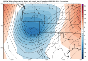 A cold but relatively dry system will move into California at the start of November. (NCEP via tropicaltidbits.com)
