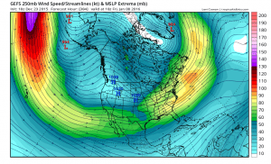 The GFS ensemble suggests a strong subtropical jet will develop over and west of California by early January. (NCEP via tropicaltidbits.com)
