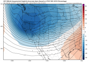 A robust cold system will swing across California, bringing widespread rain, gusty winds, and low snow levels. (NCEP via tropicaltidbits.com)