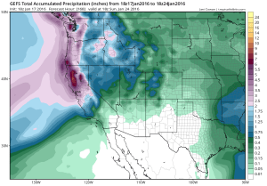 The GFS ensemble shows high confidence in heavy precipitation as far south as Monterey County over the coming 7 days. (NCEP via tropicaltidbits.com)