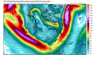 A powerful and likely El Niño-influenced subtropical jet will develop over and south of California, creating a favorable condition for significant precipitation. (NCEP via tropicaltidbits.com)