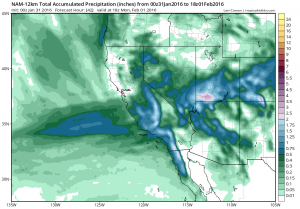 Rainfall totals tomorrow will be substantial across Southern California but very light or nonexistent across Northern California. (NCEP via tropicaltidbits.com)