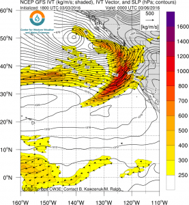 Water vapor fluxes associated with this weekend's atmospheric river will be impressive. (NCEP via Scripps)