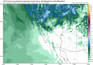 Precipitation this weekend will largely be confined to NorCal, with modest amounts overall except heavier totals in mountain areas. (NCEP via tropicaltidbits.com)