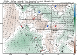 The global models are hinting at the potential for a significant monsoonal moisture surge over California in the 7-10 day period. (NCEP via tropicaltidbits.com)