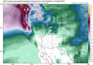 7-day ensemble mean accumulated precipitation totals from GFS, showing a range from 7-10 inches along the North Coast to less than a 0.25 inches in SoCal. (NCEP via tropicaltidbits.com)