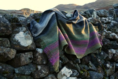 'Glencoe in Summer' heather mountainscape shawl commission (sold)